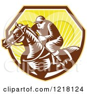 Clipart Of A Retro Woodcut Jockey On A Horse In A Shield Of Sunshine Royalty Free Vector Illustration