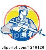 Clipart Of A Retro Soldier Holding An Assault Rifle In A Circle Royalty Free Vector Illustration