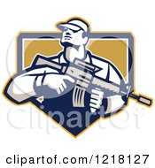 Clipart Of A Retro Soldier Holding An Assault Rifle In A Shield Royalty Free Vector Illustration