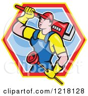 Clipart Of A Cartoon Plumber With A Plunger And Monkey Wrench In A Hexagon Royalty Free Vector Illustration