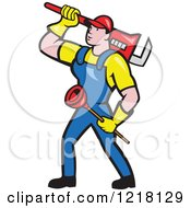 Clipart Of A Cartoon Plumber Carrying A Plunger And Monkey Wrench Royalty Free Vector Illustration