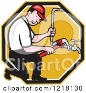 Clipart Of A Happy Cartoon Plumber Repairing A Pipe In An Octagon Royalty Free Vector Illustration