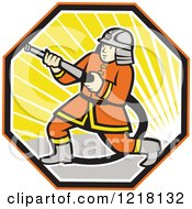 Clipart Of A Cartoon Japanese Fireman With A Hose In A Hexagon Of Sunshine Royalty Free Vector Illustration by patrimonio