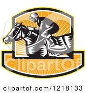 Retro Woodcut Jockey On A Horse In A Shield Of Orange Sunshine