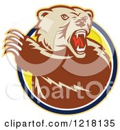 Clipart Of An Angry Grizzly Bear With A Raised Paw In A Circle Royalty Free Vector Illustration