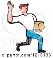Clipart Of A Cartoon Delivery Man Gesturing Ok And Carrying A Package Royalty Free Vector Illustration by patrimonio