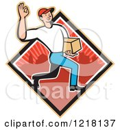 Clipart Of A Cartoon Delivery Man Gesturing Ok And Carrying A Package In A Red Urban Diamond Royalty Free Vector Illustration