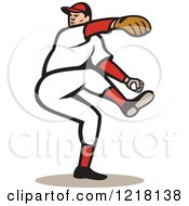 Clipart Of A Cartoon Baseball Player Pitching Royalty Free Vector Illustration
