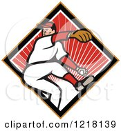 Clipart Of A Cartoon Baseball Player Pitching Over A Red Sunny Diamond Royalty Free Vector Illustration by patrimonio