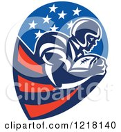 Clipart Of A Running Back American Football Player In An American Design Royalty Free Vector Illustration