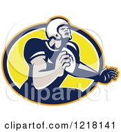 Clipart Of A Quaterback American Football Player Throwing Over An Oval Royalty Free Vector Illustration