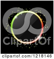 Clipart Of A Neon Ring Of Colorful Lgihts Around A Lens On Black Royalty Free Vector Illustration by elaineitalia