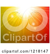 Clipart Of A Sun Burst Of Green Orange And Red Light Royalty Free Vector Illustration