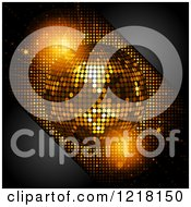 Clipart Of A 3d Golden Disco Ball And Black Corners With Text Space Royalty Free Vector Illustration