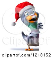 Clipart Of A 3d Christmas Pigeon Mascot Pointing To A Sign Royalty Free Illustration