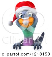 Clipart Of A 3d Christmas Pigeon Mascot Over A Sign Royalty Free Illustration