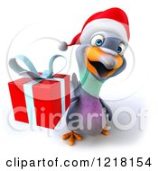 Clipart Of A 3d Christmas Pigeon Mascot Holding A Present Royalty Free Illustration