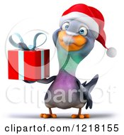 Clipart Of A 3d Christmas Pigeon Mascot Holding A Present 2 Royalty Free Illustration