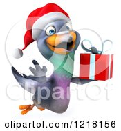 Clipart Of A 3d Christmas Pigeon Mascot Flying With A Present Royalty Free Illustration