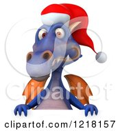 Clipart Of A 3d Purple Christmas Dragon Over A Sign Royalty Free Illustration