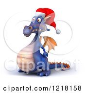 Clipart Of A 3d Purple Christmas Dragon Facing Left Royalty Free Illustration