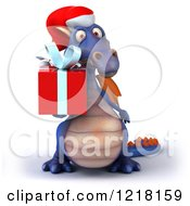 Clipart Of A 3d Purple Christmas Dragon Holding A Gift 4 Royalty Free Illustration