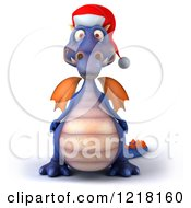 Clipart Of A 3d Purple Christmas Dragon Royalty Free Illustration