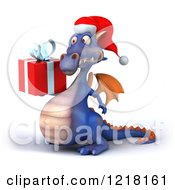 Clipart Of A 3d Purple Christmas Dragon Holding A Gift 5 Royalty Free Illustration