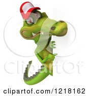 Clipart Of A 3d Crocodile Wearing A Baseball Cap By A Sign 2 Royalty Free Vector Illustration
