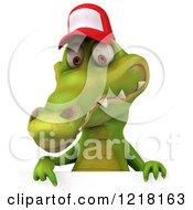 Clipart Of A 3d Crocodile Wearing A Baseball Cap Over A Sign Royalty Free Vector Illustration