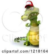 Clipart Of A 3d Crocodile Wearing A Baseball Cap By A Sign Royalty Free Vector Illustration