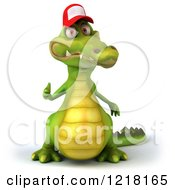Clipart Of A 3d Crocodile Wearing A Baseball Cap And Holding A Thumb Up Royalty Free Vector Illustration