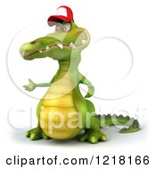 Clipart Of A 3d Crocodile Wearing A Baseball Cap And Presenting 2 Royalty Free Vector Illustration
