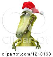 Clipart Of A 3d Christmas Dinosaur Pointing Down To A Sign Royalty Free Illustration