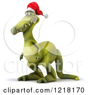 Clipart Of A 3d Christmas Dinosaur Facing Left Royalty Free Illustration