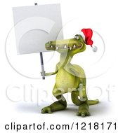 Clipart Of A 3d Christmas Dinosaur Holding A Sign Royalty Free Illustration