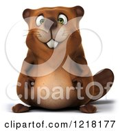Clipart Of A 3d Beaver Mascot Royalty Free Vector Illustration by Julos
