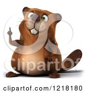 Clipart Of A 3d Beaver Mascot Pointing Upwards Royalty Free Vector Illustration