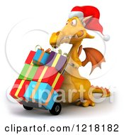 Clipart Of A 3d Yellow Dragon Pushing Christmas Presents On A Dolly 2 Royalty Free Illustration
