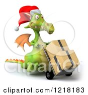 Clipart Of A 3d Green Christmas Dragon Pushing Boxes On A Dolly 2 Royalty Free Illustration