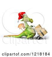 Clipart Of A 3d Green Christmas Dragon Pushing Boxes On A Dolly 3 Royalty Free Illustration