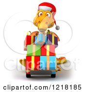 Clipart Of A 3d Yellow Dragon Pushing Christmas Presents On A Dolly Royalty Free Illustration