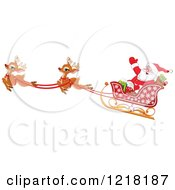 Clipart Of A Santa Waving In His Sleigh With Cute Flying Reindeer Royalty Free Vector Illustration by Pushkin