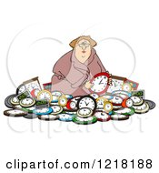 Clipart Of A White Woman In A Pile Of Clocks Royalty Free Vector Illustration