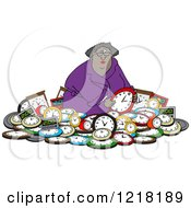 Clipart Of A Black Woman In A Pile Of Clocks Royalty Free Vector Illustration