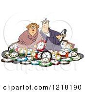Clipart Of A Couple In A Pile Of Clocks Royalty Free Vector Illustration