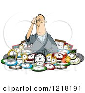 Clipart Of A Confused White Man In A Pile Of Clocks Royalty Free Vector Illustration
