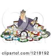 Clipart Of A Man Adjusting Time In A Pile Of Clocks Royalty Free Vector Illustration