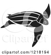 Clipart Of A Black And White Swimming Sea Turtle Royalty Free Vector Illustration