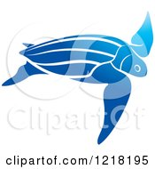 Clipart Of A Blue Swimming Sea Turtle Royalty Free Vector Illustration